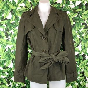 Zara Basic Olive Green Trench Short Jacket